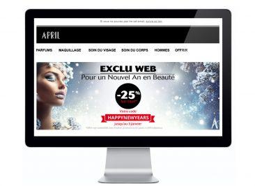 Bannière publicitaire pour le site de vente en ligne des parfumeries April