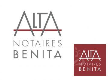 Identité visuelle d'une officine notariale Alta Notaires Bénita
