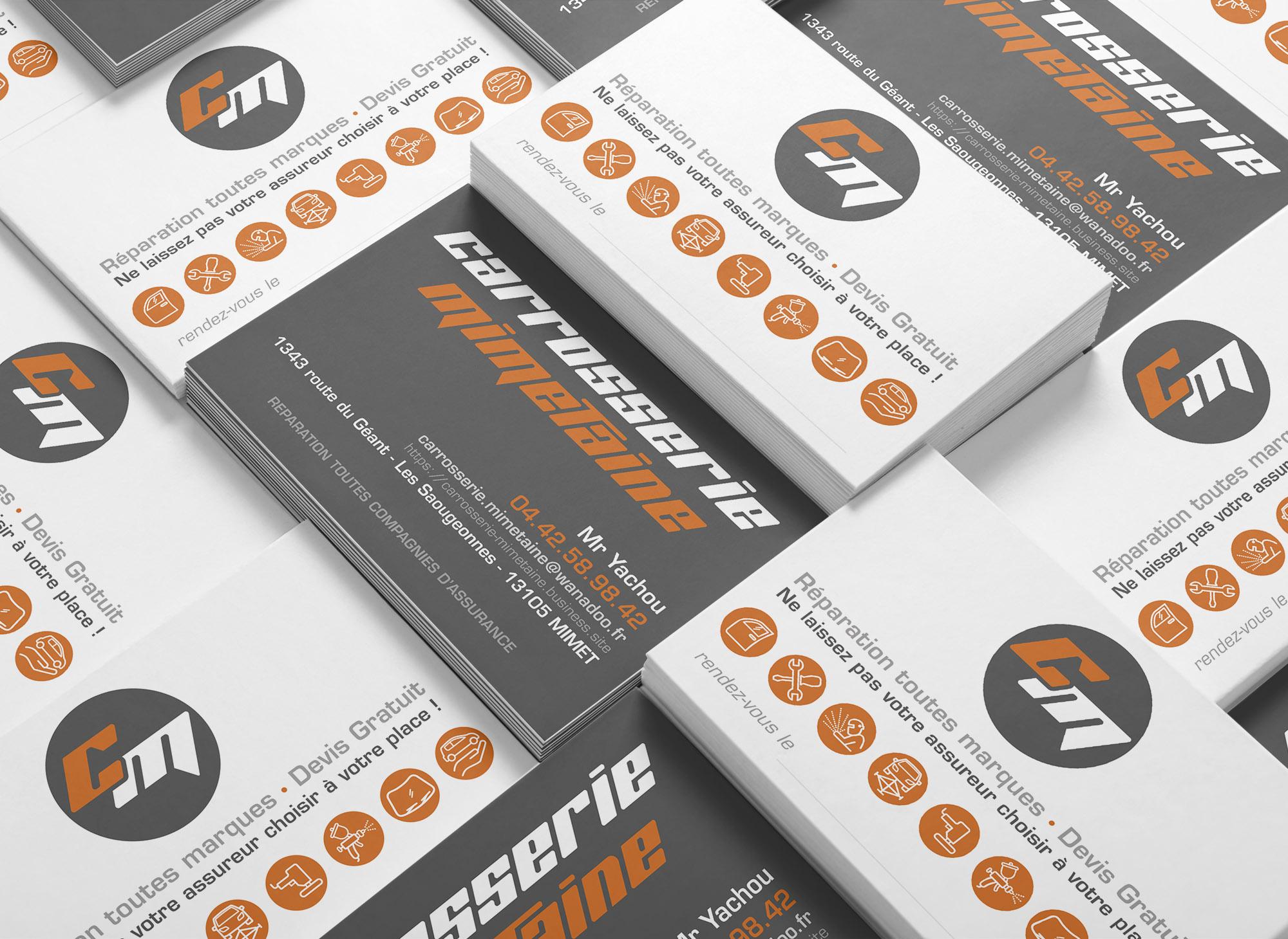 Identité visuelle, logo, carte de visite, signalétique pour la Carrosserie Mimetaine