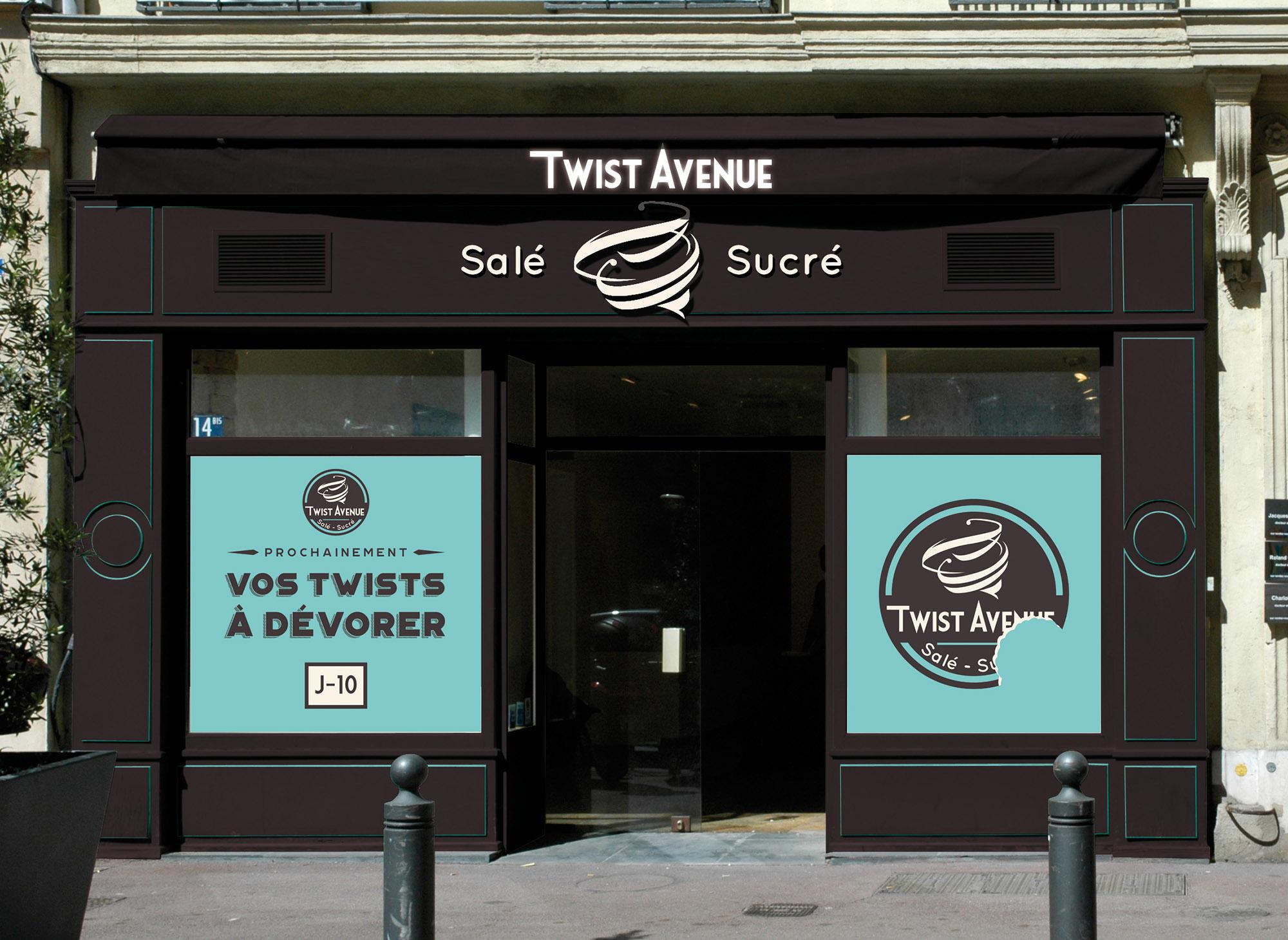 Identité visuelle pour Twist Avenue : Logo, enseigne, stickers j-10…