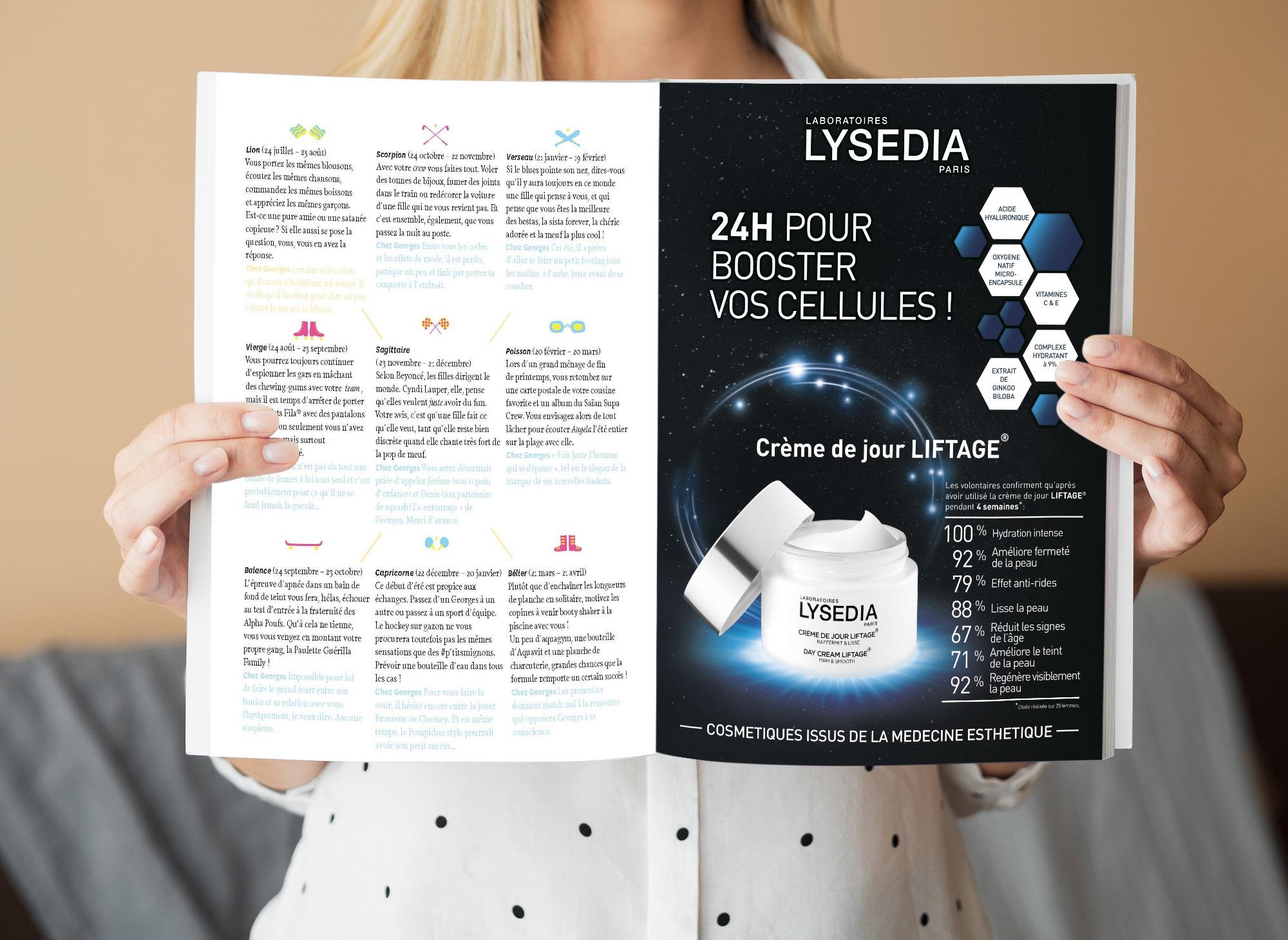 Publicité magazine féminin pour Lysedia