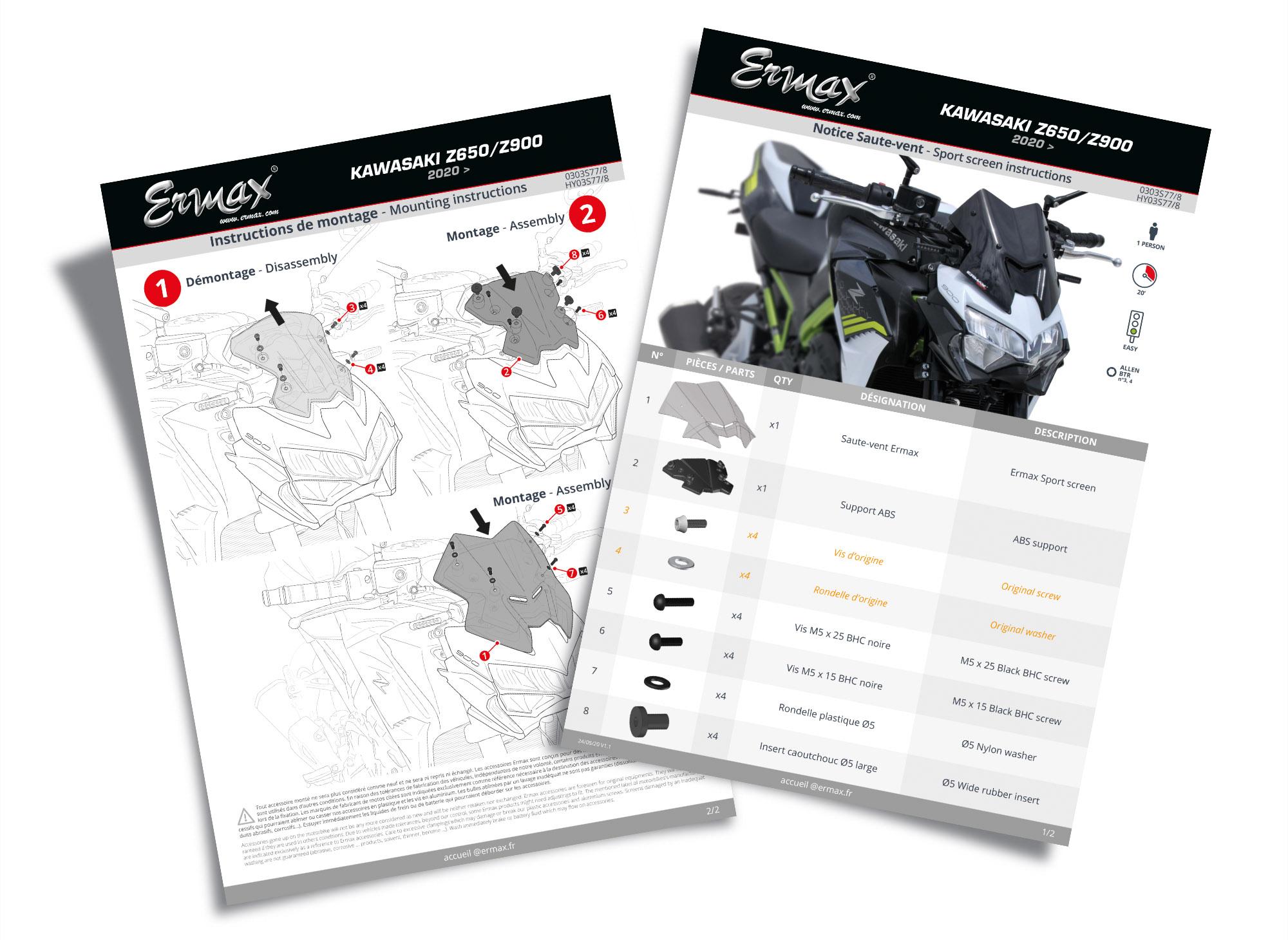 Notice de montage A4 pour les accessoires moto Ermax®
