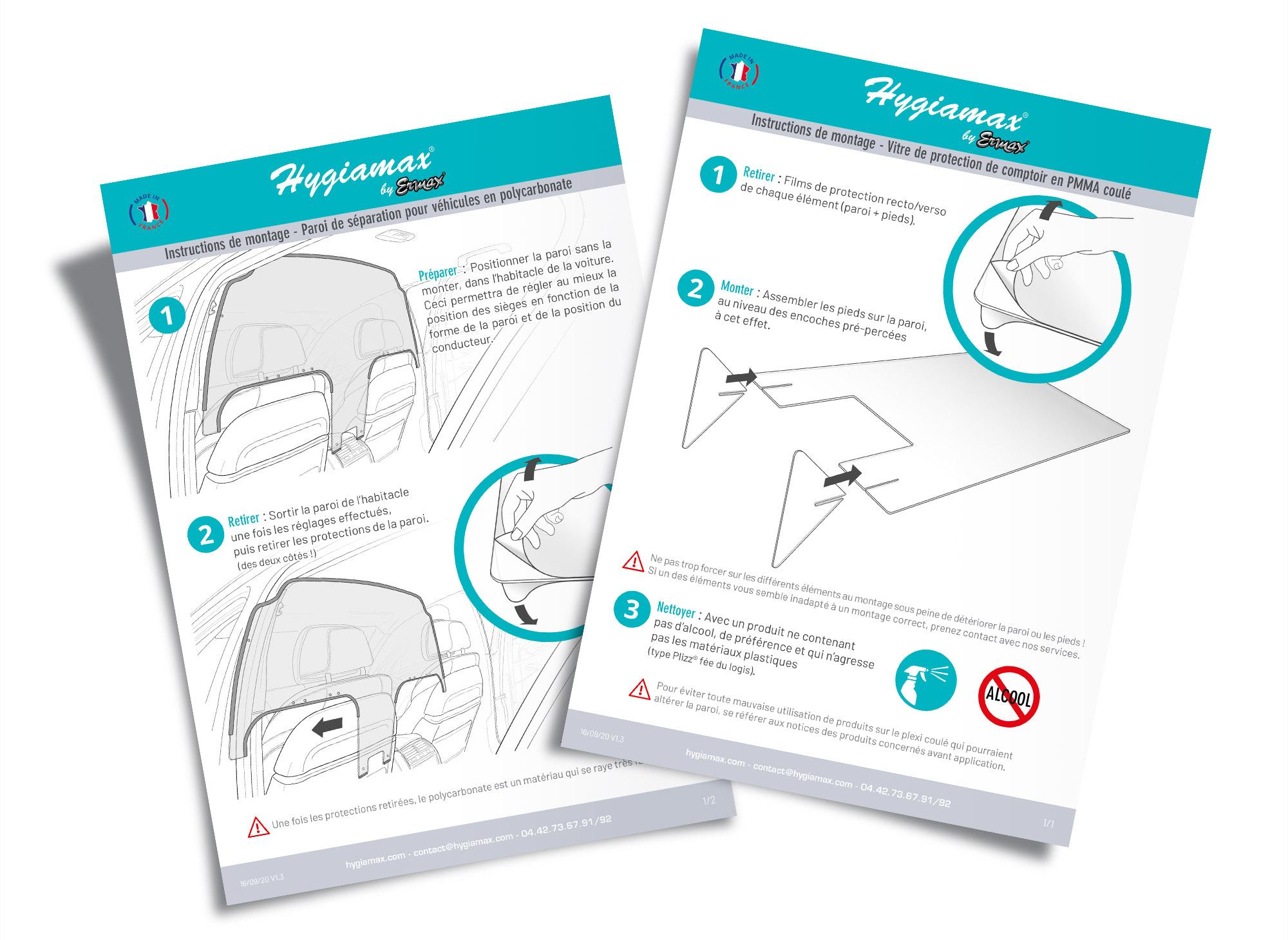 Notice de montage A4 pour les parois de protection COVID 19 Hygiamax® by Ermax®